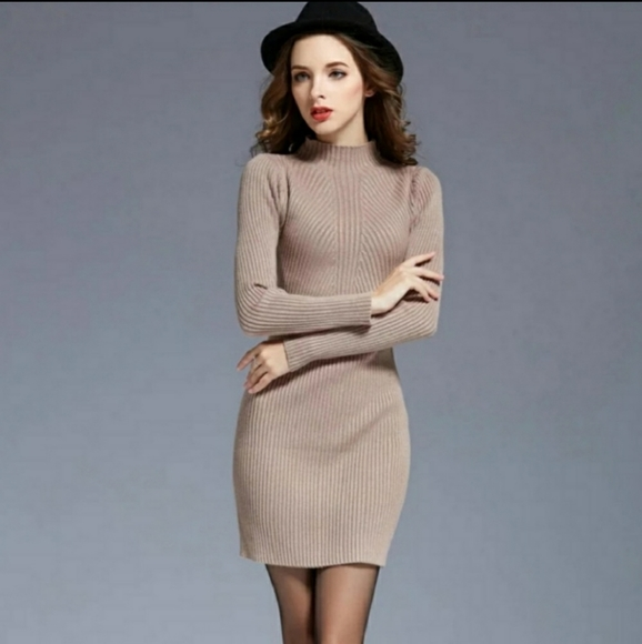 Bluewinkz Dresses & Skirts - Khaki Long Sleeve Knit Dress